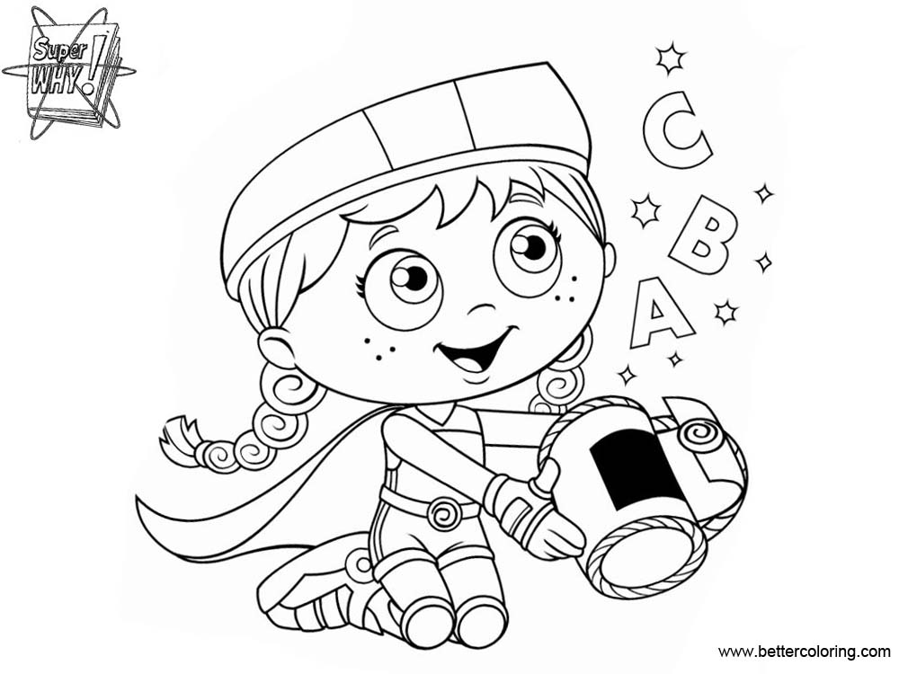 Free Super Why Coloring Pages Wonder Red printable