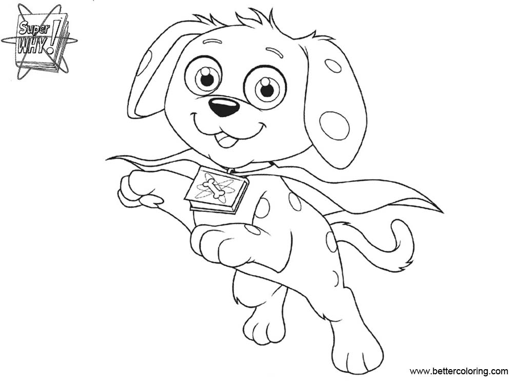 Free Super Why Coloring Pages Woofster Black and White printable