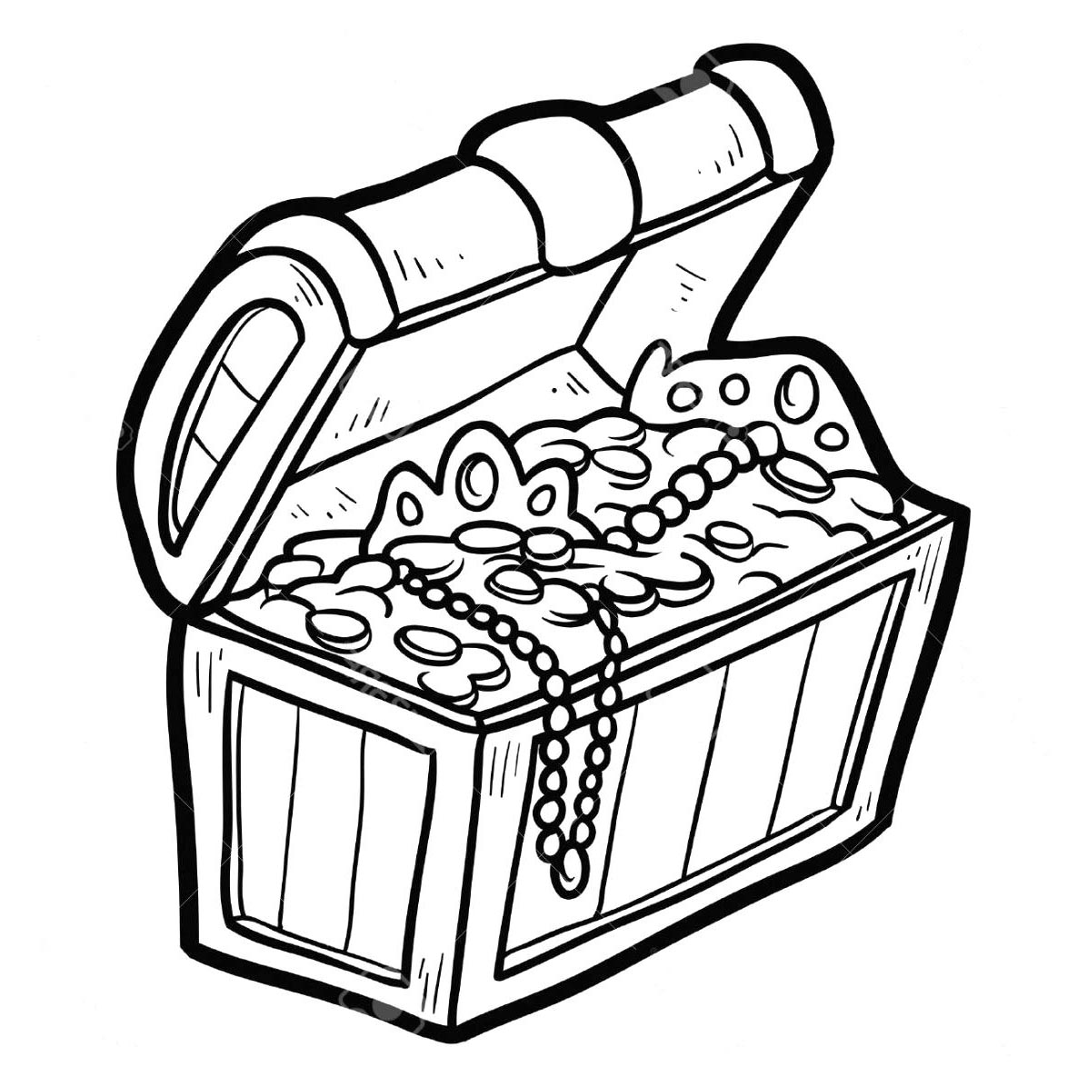 Free Treasure Chest Coloring Pages Black and White printable