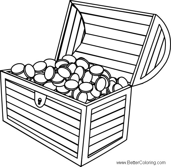 Free Treasure Chest Coloring Pages with Coins printable