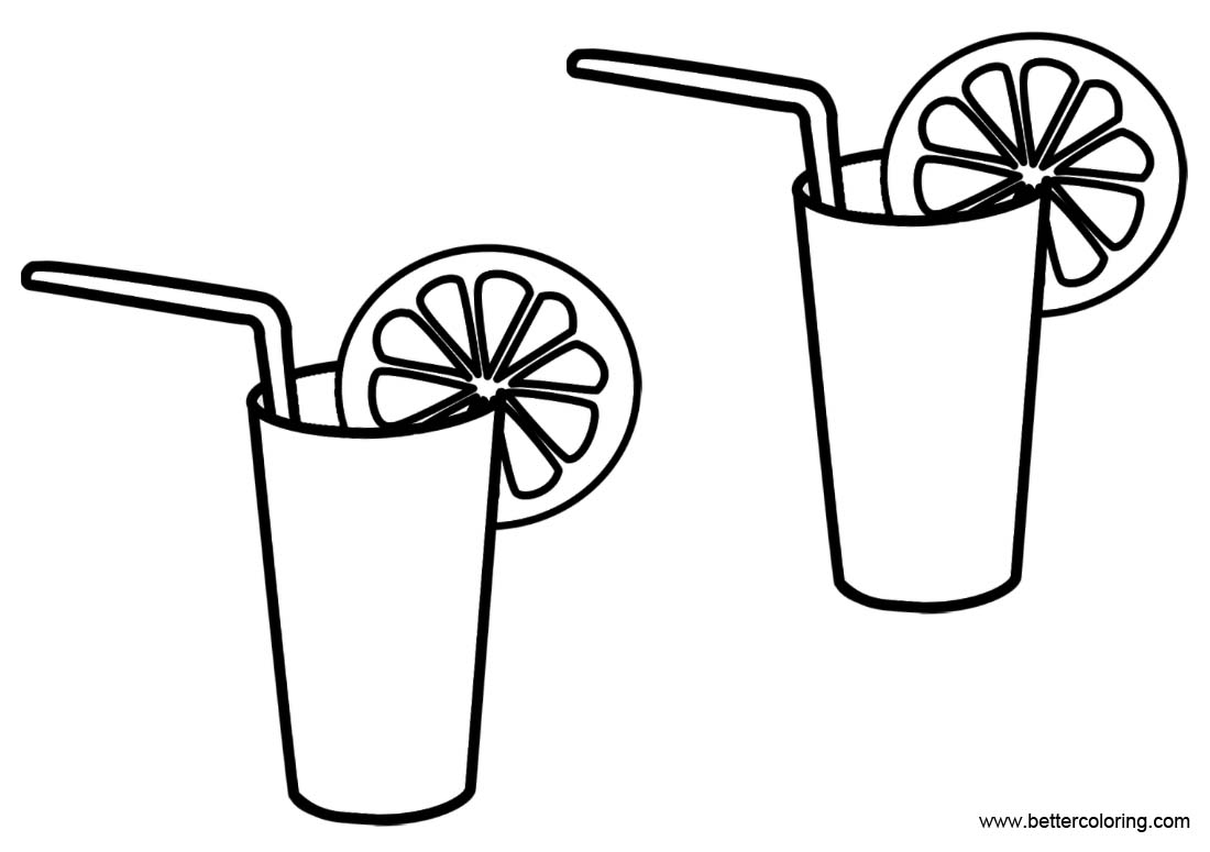 Free Two Glasses of Lemonade Coloring Pages printable