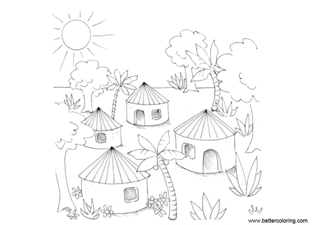 Free Village in Jungle Coloring Pages printable