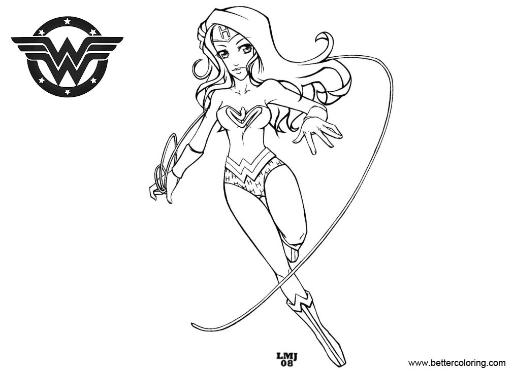 Download Coloring Pages Wonder Woman Pages In Pages: Wonder Woman Coloring Pages Black And White By KatiraMo