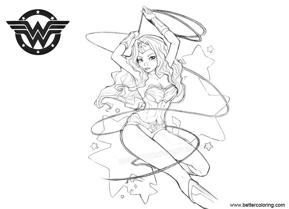 Free Wonder Woman Coloring Pages Fan Art by Sherilyn printable