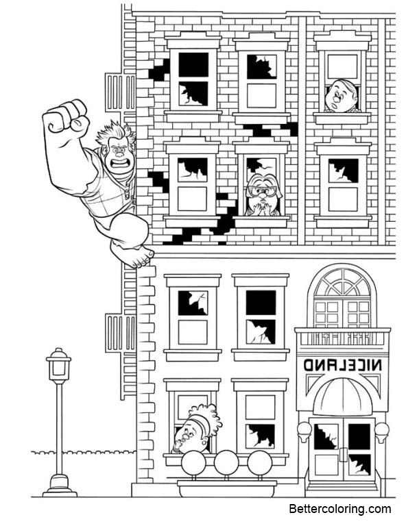 Free Wreck It Ralph Coloring Pages Black and White printable