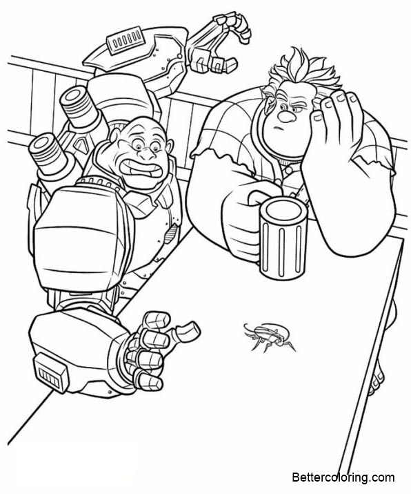 Free Wreck It Ralph Coloring Pages Bug on Table printable
