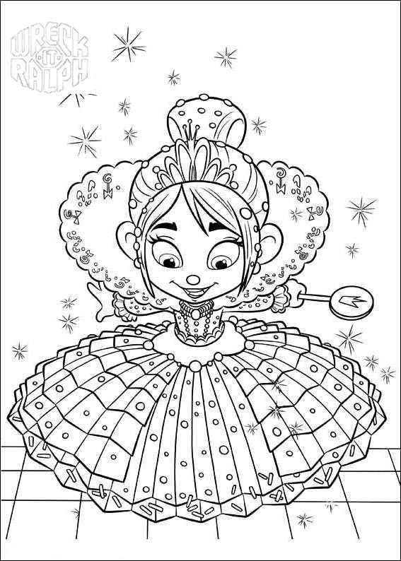 It's just a picture of Obsessed Vanellope Coloring Pages