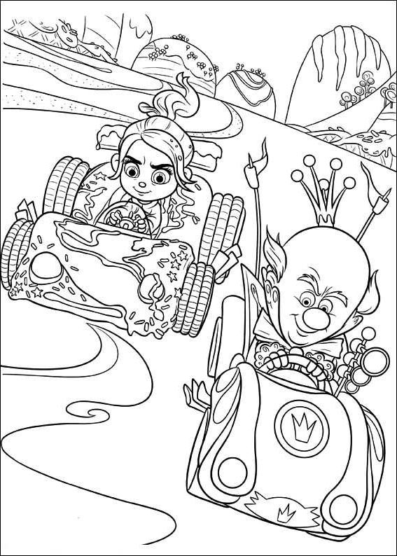 Free Wreck It Ralph Coloring Pages King Candy and Vanellope printable