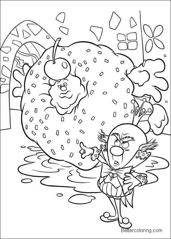 Wreck It Ralph Coloring Pages Line Drawing King Candy