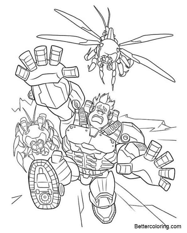 Free Wreck It Ralph Coloring Pages Running printable