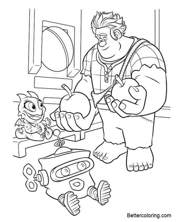 Wreck it ralph coloring pages two apples free printable for Free wreck it ralph coloring pages