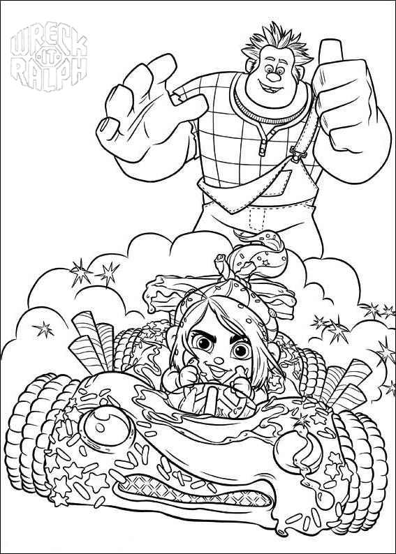 Free Wreck It Ralph Coloring Pages Vanellope in Car printable