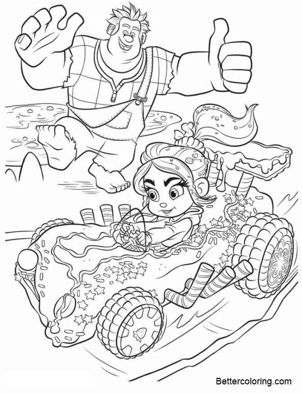 Free Wreck It Ralph Coloring Pages Vanellope is Racing printable