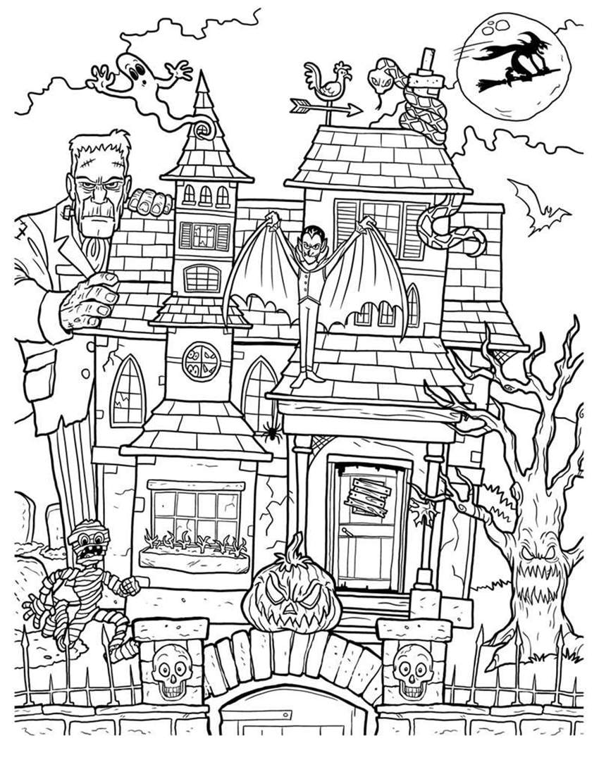 Haunted Halloween Houses Coloring Pages Adalts | www.topsimages.com