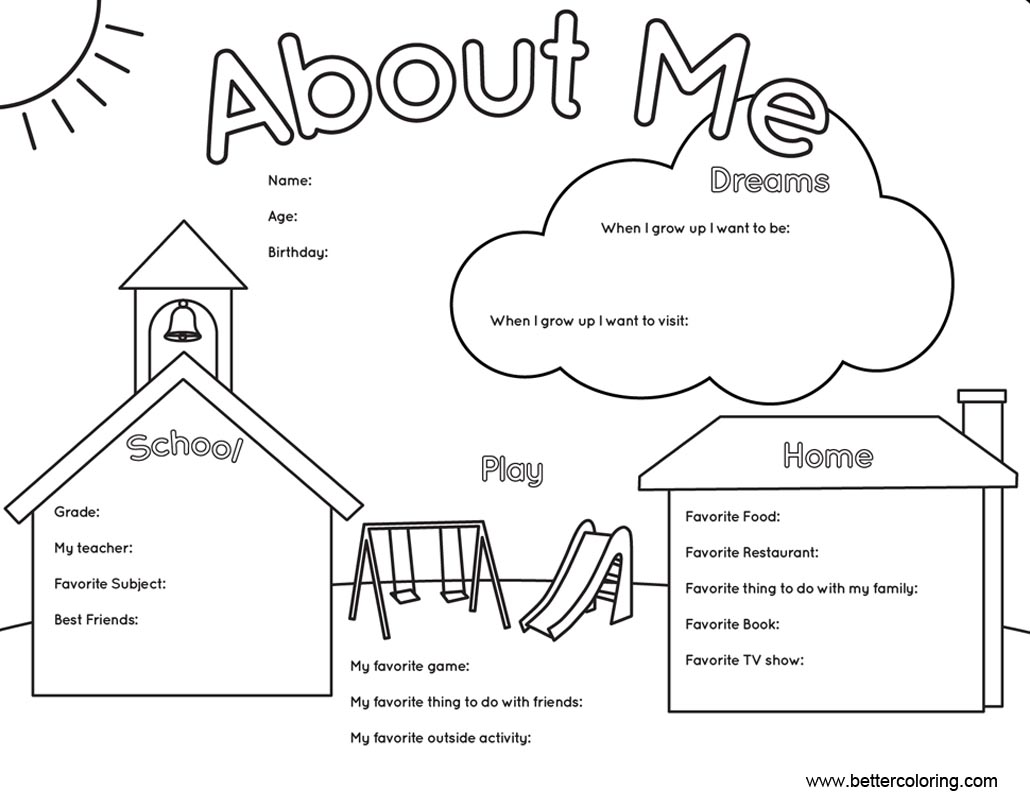 All About Me Coloring Pages Worksheets Home And School