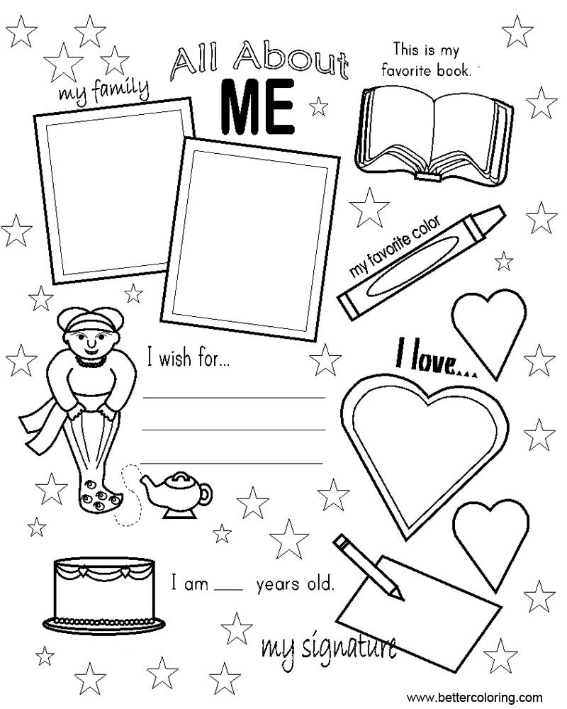 Free all about me coloring pages worksheets with stars printable for kids and adults