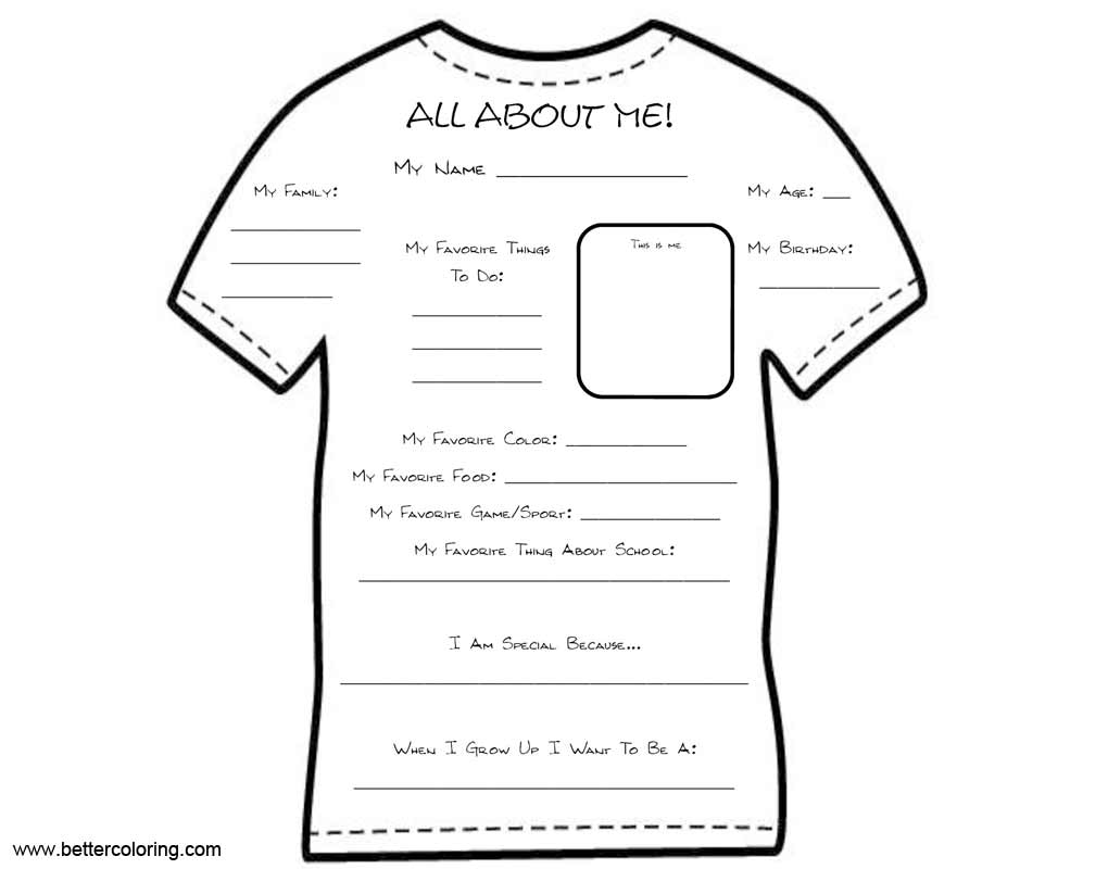 Free All About ME Coloring Pages on T-Shirt printable
