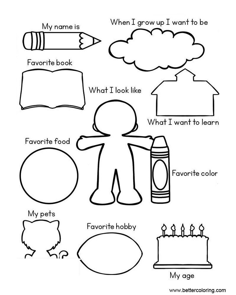 All About Me My Favorite Things Sketch Coloring Page