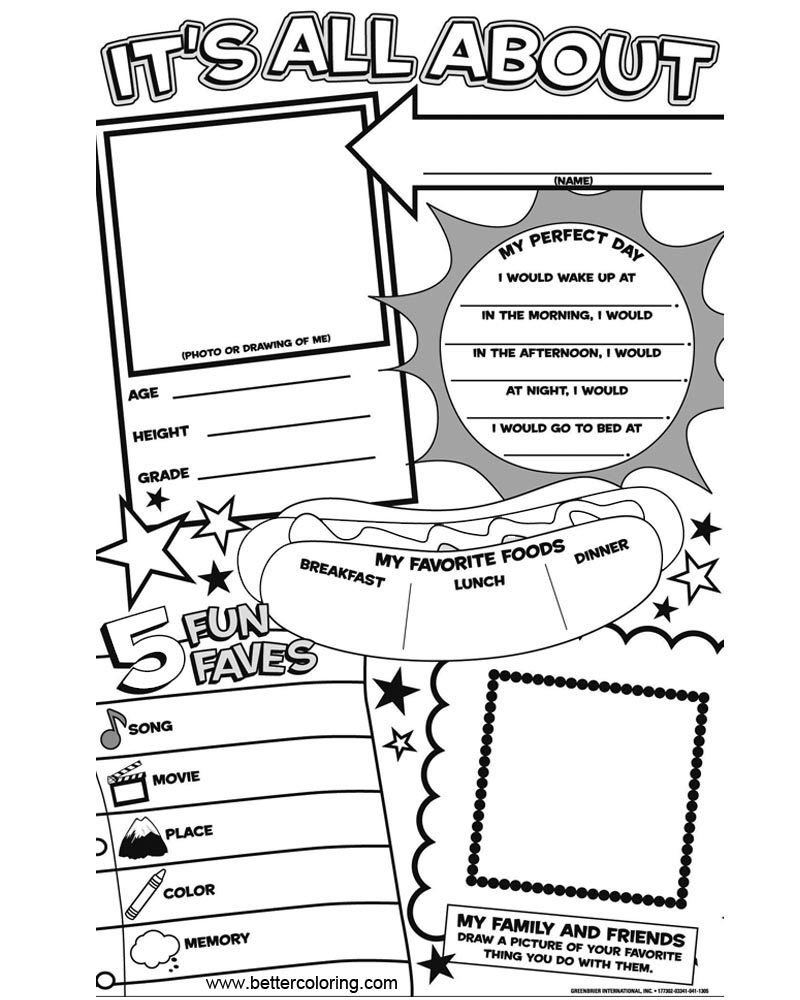 All About Me Coloring Pages Get to Know Me Worksheets