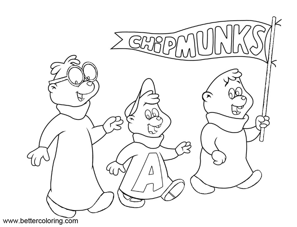 Free Alvin And The Chipmunks Coloring Pages Boys Outline Drawing printable