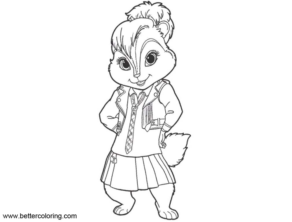 Alvin And The Chipmunks Coloring Pages Eleanor Drawing - Free ...