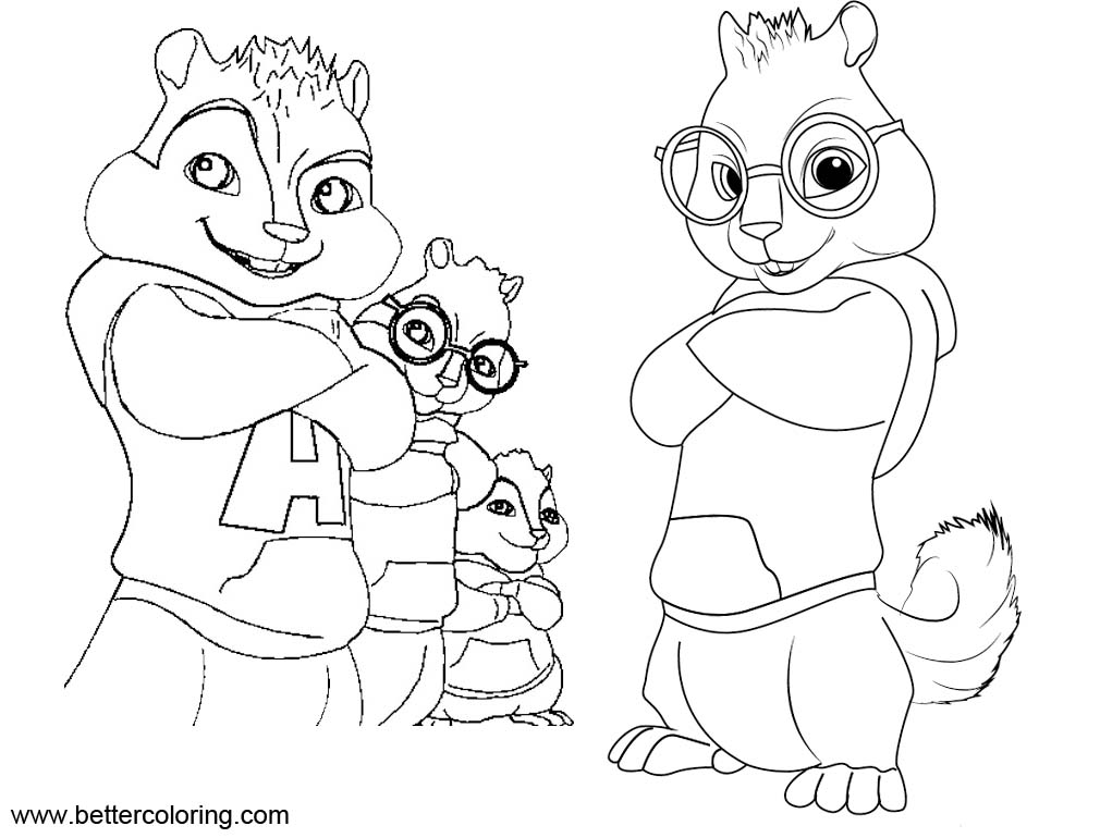 Free Alvin And The Chipmunks Simon Coloring Pages printable