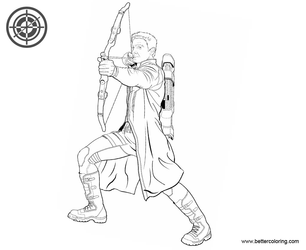 Superhero Thanos Coloring Pages: Avengers Superhero Hawkeye Coloring Pages