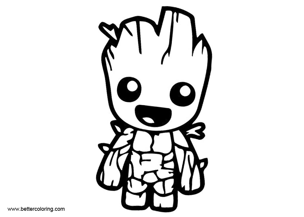 Free Baby Groot Coloring Pages Black and White printable
