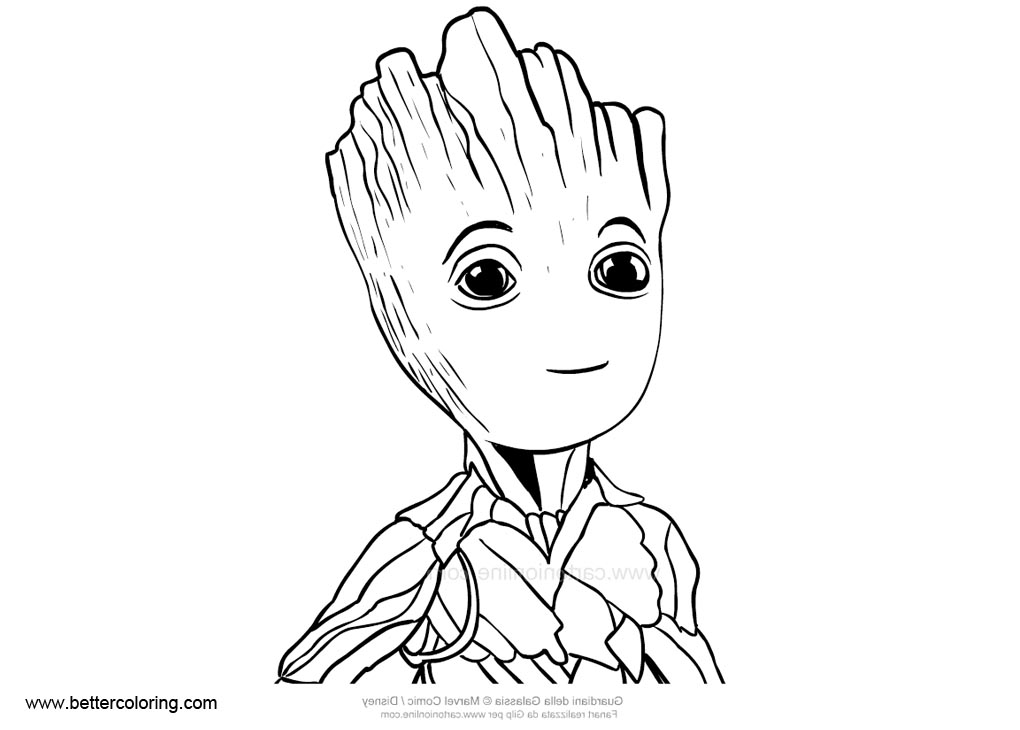 Baby Groot Coloring Pages Easy Drawing Free Printable