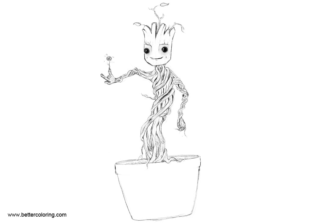 Baby Groot Coloring Pages Fan Art Work Free Printable Coloring Pages