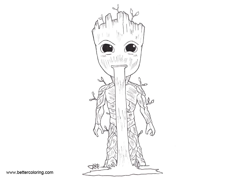 Free Baby Groot Coloring Pages Fan Art by XenonVincentLegend printable