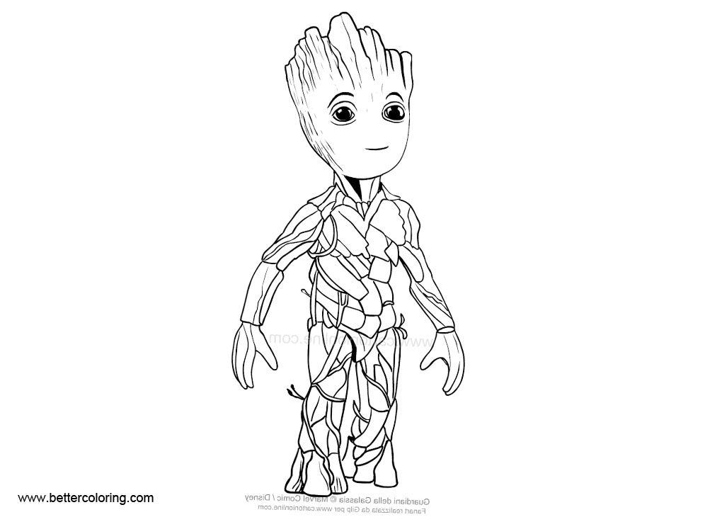 Free Baby Groot Coloring Pages Line Art printable