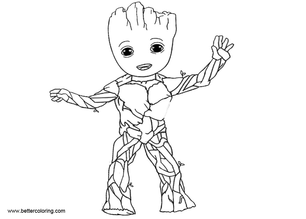 Baby Groot Coloring Pages Line