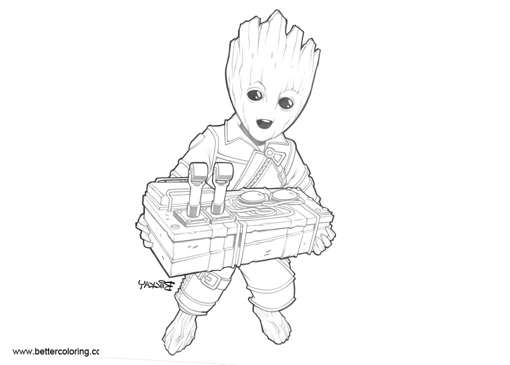 Free Baby Groot Coloring Pages Lines by BillMckay printable