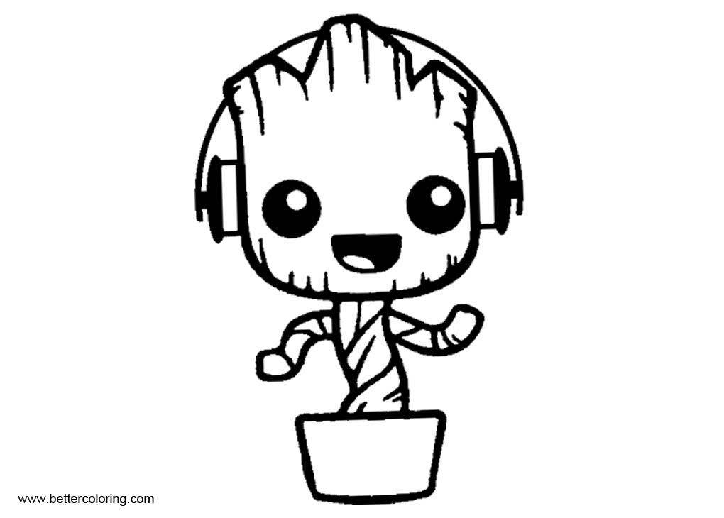 Free Baby Groot Coloring Pages with Headphone printable