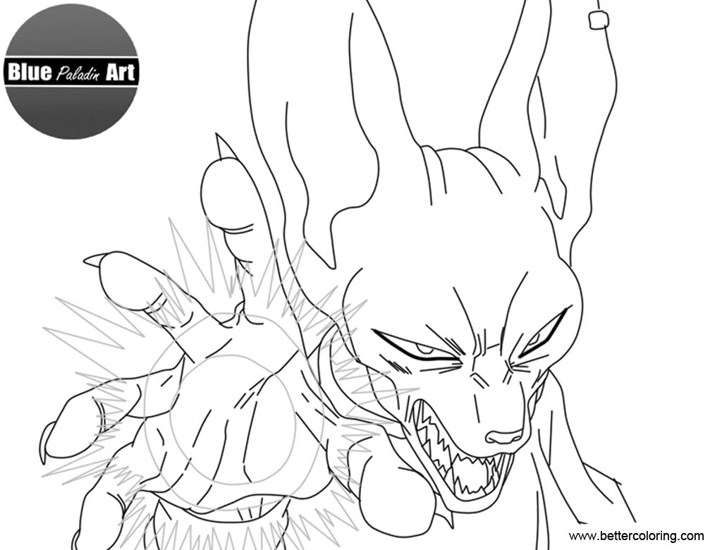 Free Beerus from Dragon Ball Super Coloring Pages by bluealadinart printable