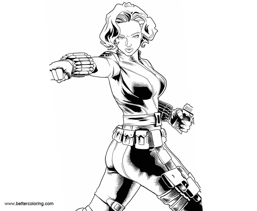 Black Widow Coloring Pages Lineart by artistjerrybenett ...