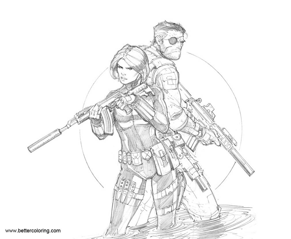 Free Black Widow Coloring Pages with Nick Fury by Max-Dunbar printable