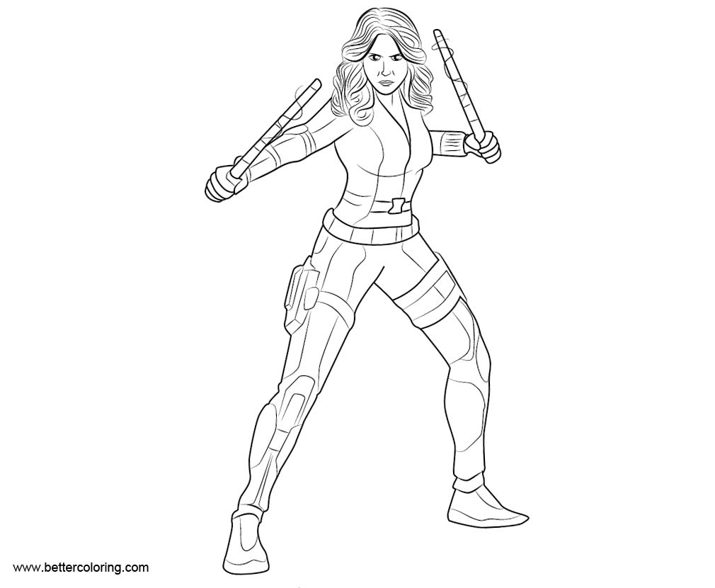 Black Widow from Marvel Coloring Pages Free Printable