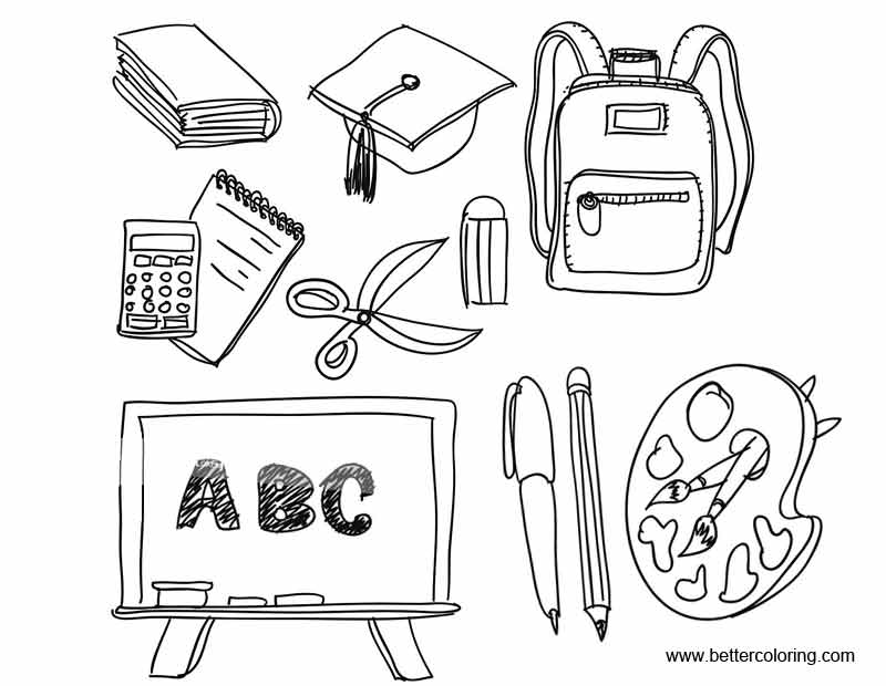 Black and White School Supplies