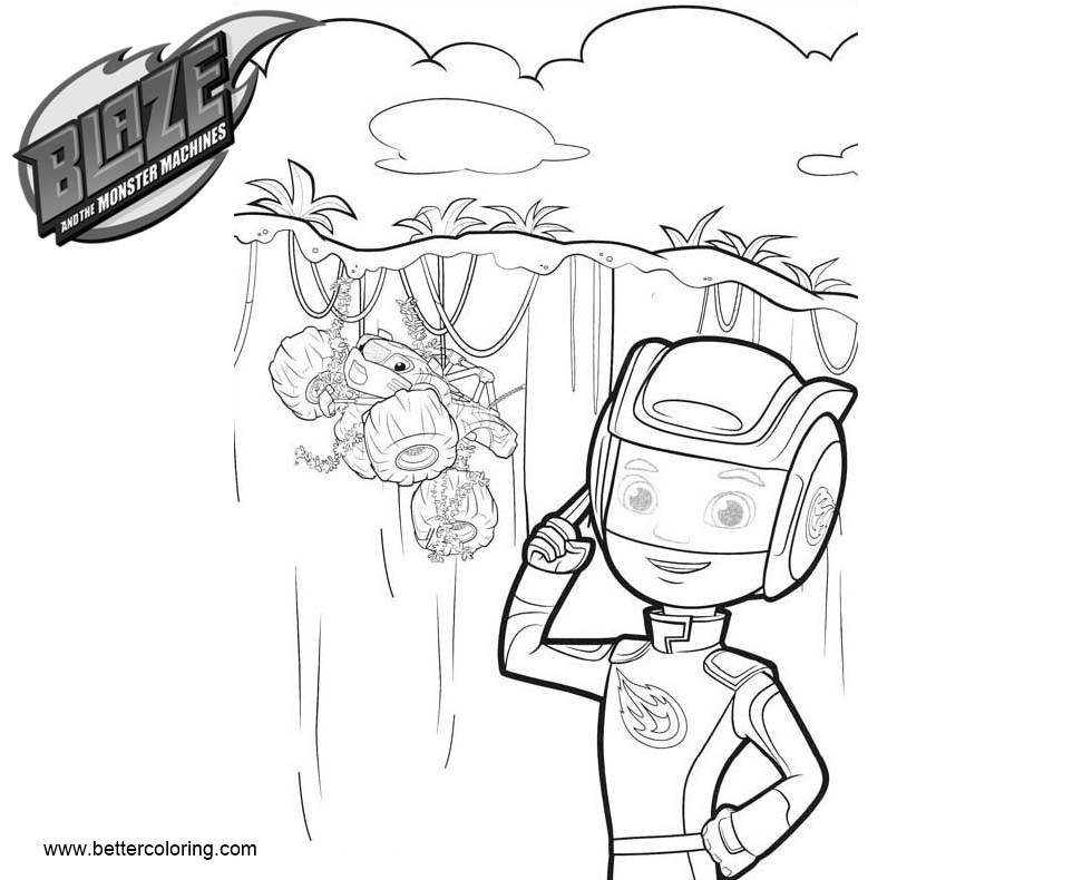 Free Blaze and the Monster Machines Coloring Pages AJ and Stripes printable