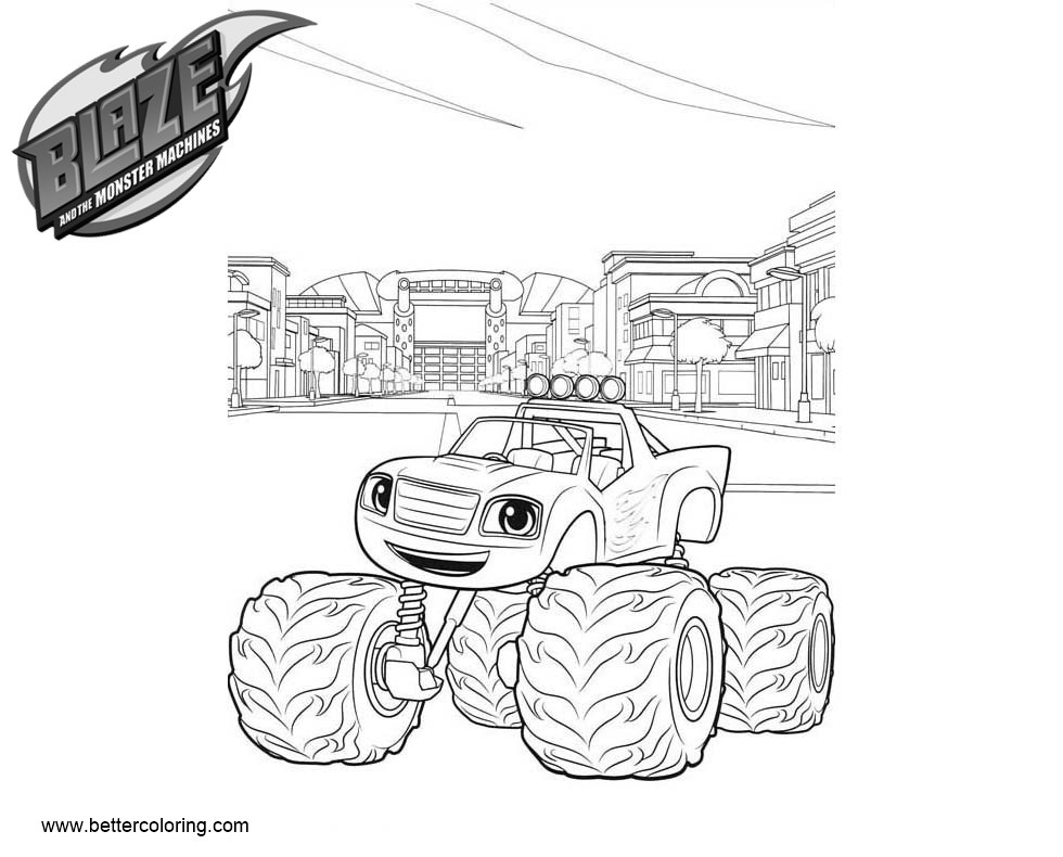 Free Blaze And The Monster Machines Coloring Pages Car Printable For Kids Adults