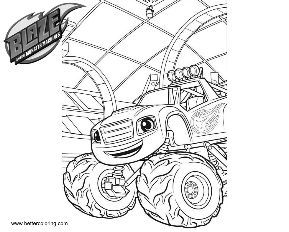 Blaze And The Monster Machines Coloring Pages Happy Blaze Free