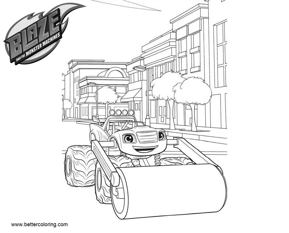 Free Blaze and the Monster Machines Coloring Pages Line Art printable