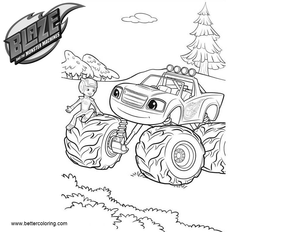 Free Blaze and the Monster Machines Coloring Pages Line Drawing printable