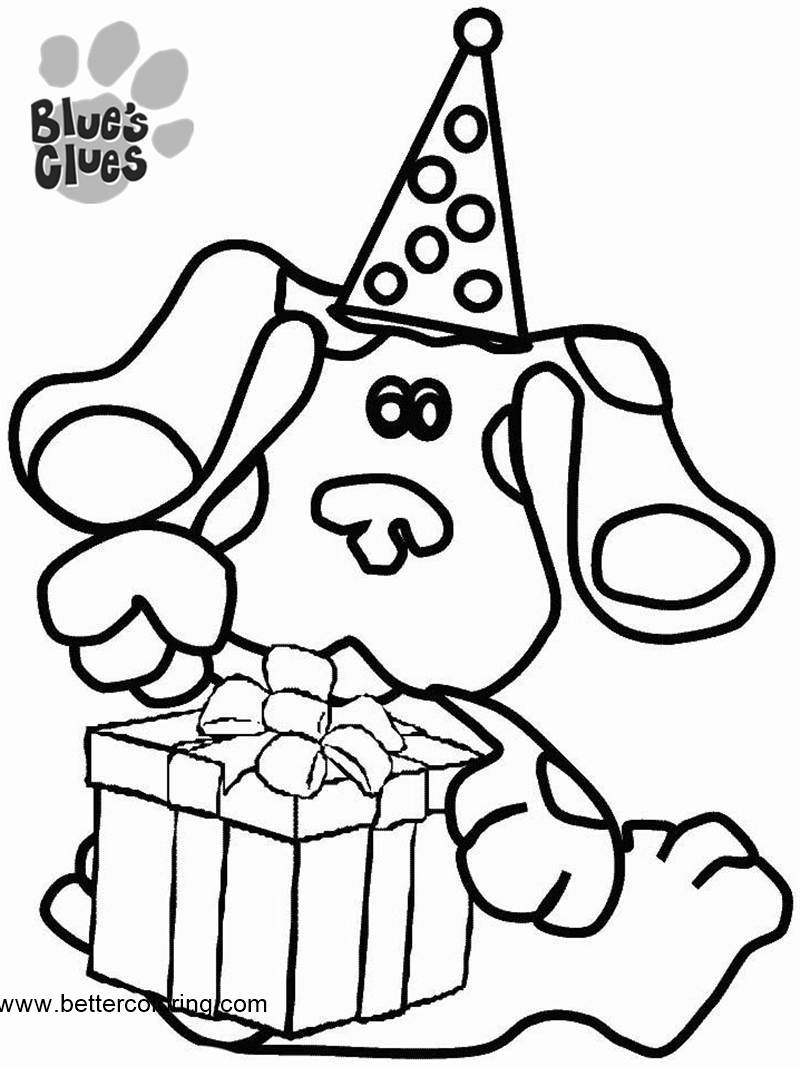 Free Blue's Clues Coloring Pages Blue with Christmas Hat printable