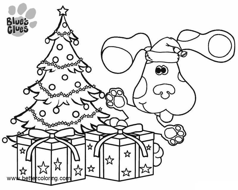 free blues clues coloring pages christmas tree and presents printable
