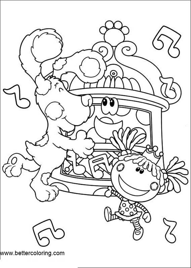 Free Blue's Clues Coloring Pages Dancing printable