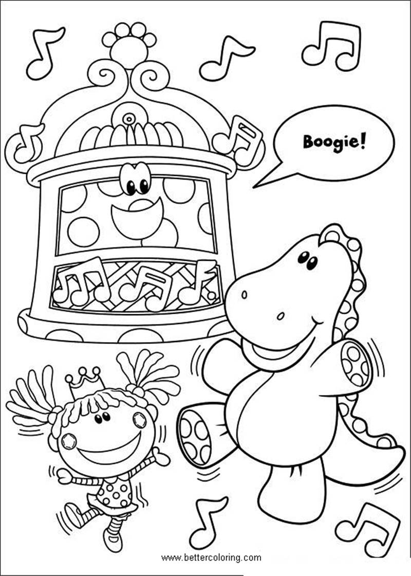 Free Blue's Clues Coloring Pages Dinosaur Dancing with Doll printable