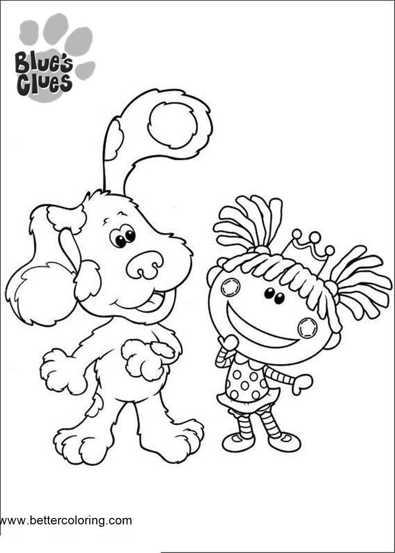 Free Blue's Clues Coloring Pages Dog and Doll printable